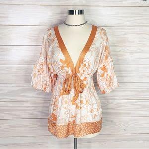 Bebe Size S Orange & White Womens Kimono Shirt